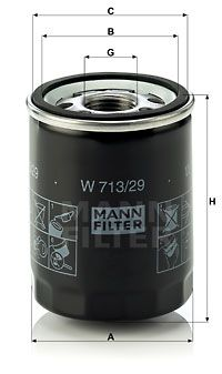 LR031439 W713/29 Mann & Hummel Spin On Oil Filter 4508334