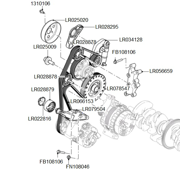 Tci Auxiliary Drive Belt Pulleys Detail on Land Rover Discovery Parts Diagram