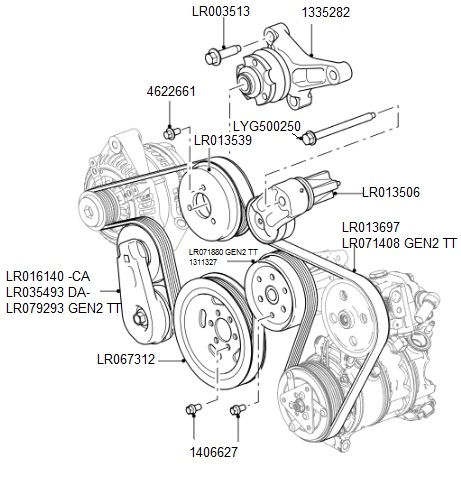 D Auxiliary Drive Belt Detail on Land Rover Discovery Serpentine Belt Diagram