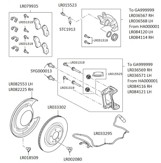 Land Rover Rear Brake Rotor Disc Set Range Classic: Rear Brake Pads, 350mm Discs & Calipers (When Fitted With