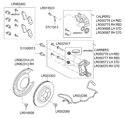 range rover l405 rear brakes - all models fitted with 365mm discs