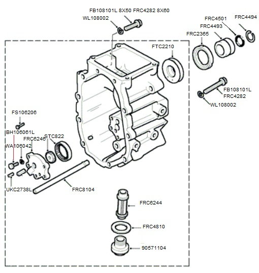 lt77 transmission extension case and oil pump  to suffix f